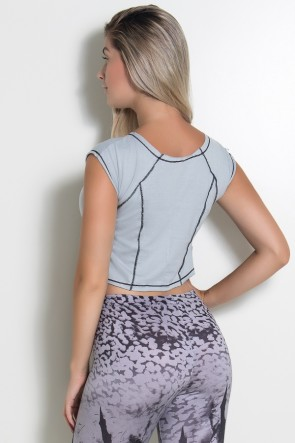 Mini Blusa de Malha com Ponto de Cobertura (Cinza / Preto) | Ref: KS-F2148-002