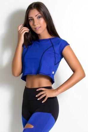 Mini Blusa de Malha com Ponto de Cobertura (Azul Royal / Preto) | Ref: KS-F2148-003