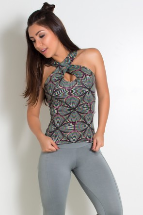 Camiseta Suelen (Preto com Ondulado Colorido) | Ref: KS-F223-001