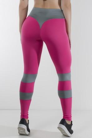 Calça Bumbum na Nuca Duas Cores (Rosa Pink / Cinza) | Ref: KS-F2250-003