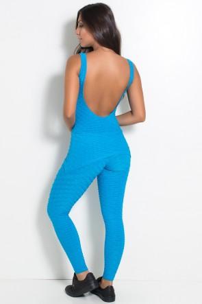 Macacão com Tapa Bumbum Tecido Bolha (Azul Celeste) | Ref: KS-F262-005