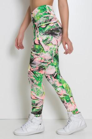 Legging Estampada Folha Verde e Rosa | Ref: KS-F27-021