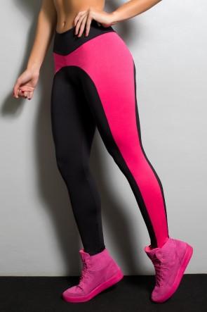 Calça Legging Duas Cores  Excelente (Preto com Rosa Pink) | Ref: KS-F32-001