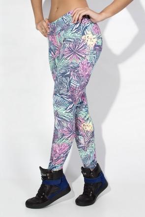 Calça Legging Estampada Cós Baixo (Folhagem Colorida com Flor Amarela) | Ref: KS-F343-005