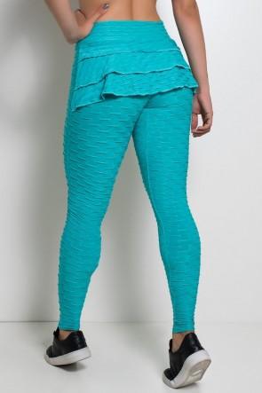 Calça Com Babado Tecido Bolha (Verde Esmeralda) | Ref: KS-F348-005