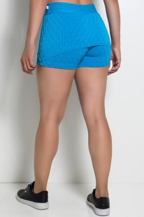 Short Saia Paola Tecido Bolha (Azul Celeste) | Ref: KS-F377-006