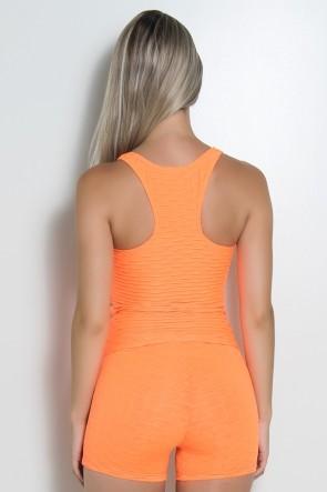 Camiseta Adriane Tecido Bolha Fluor (Laranja Fluor) | Ref: KS-F444-002