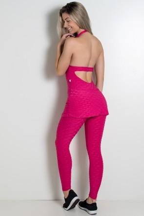 Macacão Tecido Bolha com Bojo (Rosa Pink)   Ref: KS-F500-002