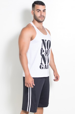 Camiseta Regata (No Pain No Gain) (Branco) | Ref: KS-F524-001