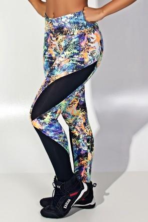 Calça Legging Naomi Estampada com Detalhe Dry Fit (Fundo do Mar 4) | Ref: KS-F600-001