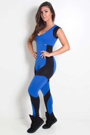 Macacão Vânia (Azul Royal / Preto)   Ref: KS-F607-002