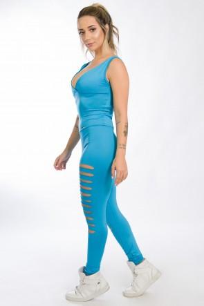 Macacão Sibelle com Rasgos (Azul Celeste) | Ref: KS-F621-003