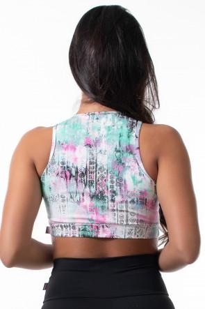 Cropped Anamara Estampado (Mosaico com Mancha Verde e Rosa) | Ref: KS-F622-009