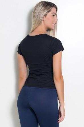 Camiseta Feminina A com Estrelas (Preto) | Ref: KS-F701-001