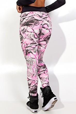 Calça Alana Estampada com Cós Preto (Folha Cinza e Rosa) | Ref: F755-001