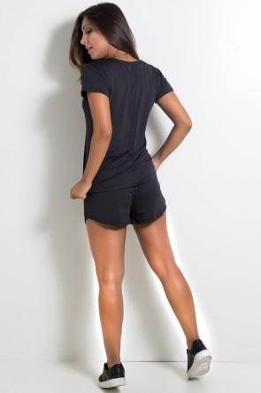 Conjunto Camisa + Short de Microlight (Preto) | Ref: KS-F861-001