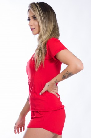 Conjunto Camisa + Short de Microlight (Vermelho)   Ref: KS-F861-007