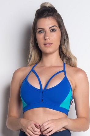 Top de Alcinha Duas Cores com Tiras | Poliamida Excelente! | (Azul Royal / Verde Esmeralda) | Ref: KS-PL38-001