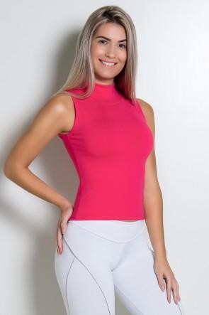 Camiseta Gola Alta Lisa | Poliamida Excelente! | (Rosa Pink) | Ref: KS-PL64-002