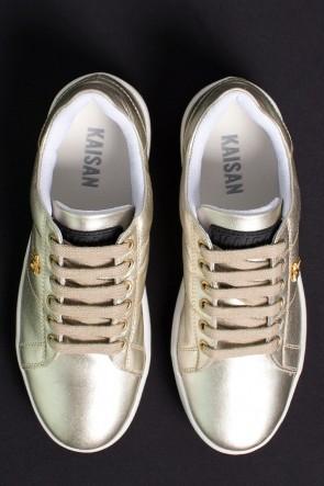 Tênis Mini Sneaker com Cadarço (Dourado)   Ref: KS-T42-005