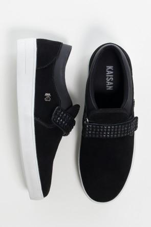 Tênis Mini Sneaker com Velcro (Nobuck Preto)   Ref: KS-T43-002