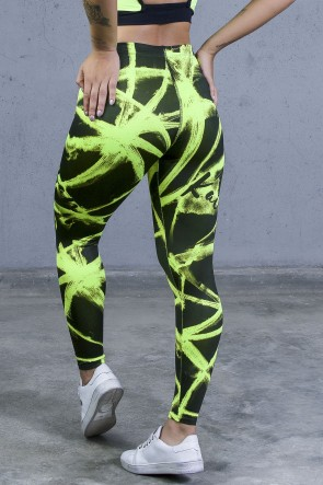 Legging Sublimada PRO (Brushes Amarelo Neon) | Ref: NTSP09-002