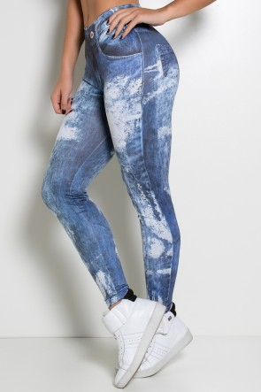 Legging Estampa Digital (Jeans Black Paint) | Ref: NTSP27-001
