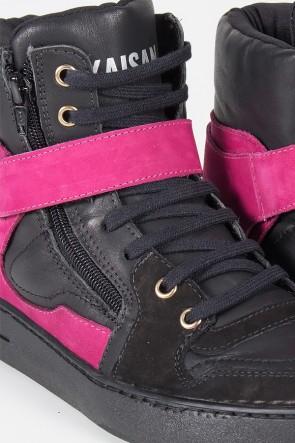 Sneaker Preto com Rosa Pink | Ref: T37