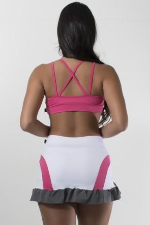 Conjunto Top com Tiras e Short Saia Liso com Listra e Babado Mescla (Branco-Rosa Pink-Mescla) | Ref: KS-F1487-001