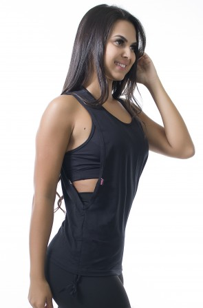 Camiseta Dry Fit com Regulagem Lateral (Preto) | Ref: KS-F936-003