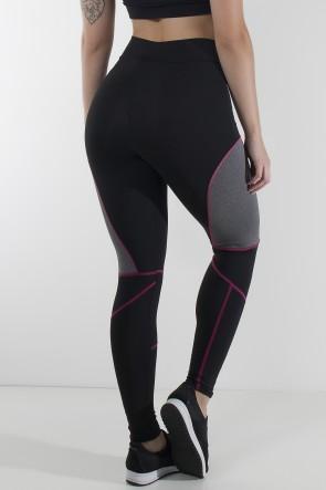 Calça Lisa com Detalhe Mescla e Ponto de Cobertura (Preto + Rosa Pink + Mescla)   Ref: KS-F724-001