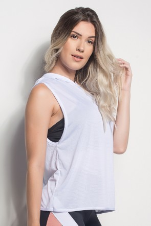 Camiseta Dry Fit Com Capuz E Transpassado Nas Costas (Branco) | Ref: CMT105-002/000/000