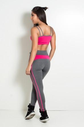 Conjunto Top com Tiras e Legging Mescla (Mescla / Rosa Pink) | Ref: KS-F1107-002