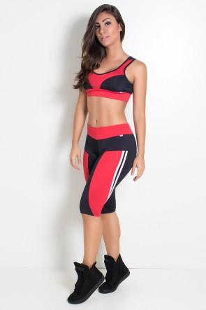 Conjunto Fitness Corsário Preto com Vermelho | Ref: KS-F14-003