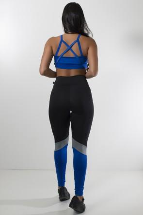Conjunto Top com Tiras Cruzadas e Legging Três Cores (Preto - Azul Royal - Cinza) | Ref: KS-F1485-001