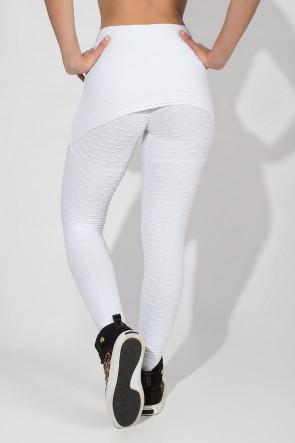 Calça Saia Tecido Bolha (Branco) | Ref: F225-002