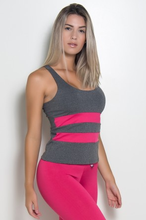 Camiseta Mescla com Detalhe Liso (Rosa Pink) | Ref: KS-F494-005
