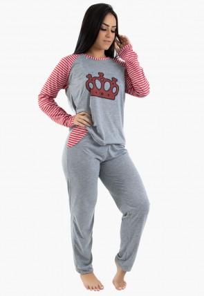 Pijama feminino longo 304(Mescla com Vermelho)CEZ-PA304-002
