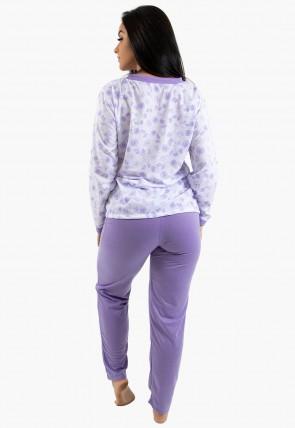 Pijama feminino longo 182 (Lilás) | Ref: CEZ-PA182-015