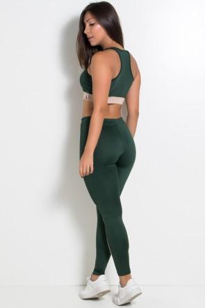 Conjunto Legging e Top com Detalhe de Duas Cores (Verde Escuro / Chocolate) | Ref: KS-F1781-001
