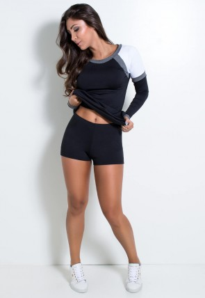 Vestido Fitness Manga Longa com Detalhe Mescla (Preto / Branco / Mescla) | Ref: KS-F2083-001
