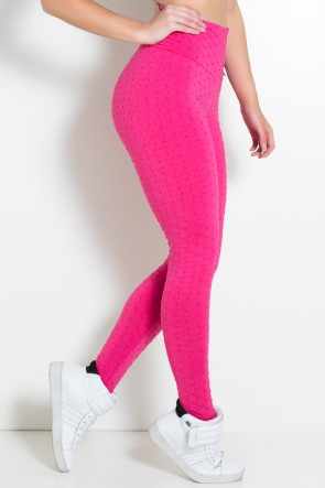 Calça Legging Tecido Bolha Invertida (Rosa Pink) | Ref: KS-F119-006