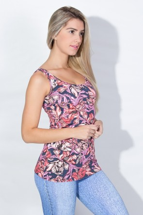 Camiseta Estampada (Folhas Rosa Salmão e Vermelho) | Ref: KS-F256-002