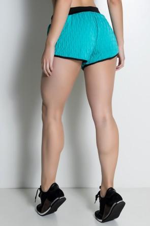 Shortinho Demi Tecido Bolha (Verde Esmeralda / Preto) | Ref: KS-F453-005