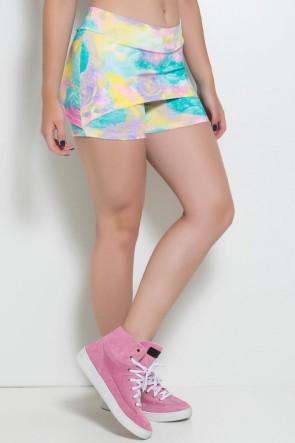 Short Saia Tapa Bumbum Estampado (Rosas Amarelas Verdes e Roxas) | Ref: KS-F58-001