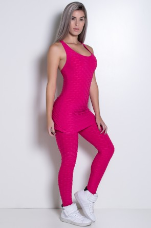 Macacão Nadador com Saia Franzida Tecido Bolha (Rosa Pink) | Ref: KS-F671-001