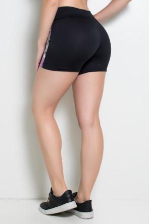 Short  Annita (Preto / Penas Cinza Rosa e Laranja) | Ref: KS-F84-001