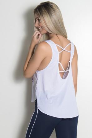 Camiseta Fitness Dry Fit Trançada (Love Fitness) (Branco) | Ref: KS-F716-001