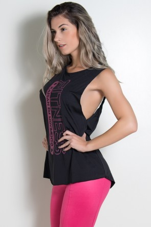 Camiseta Letícia Estampada (Preto)   Ref: KS-F573-001