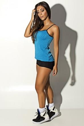 Conjunto Camiseta e Shortinho Tecido Bolha (Azul Celeste) | Ref: KS-F474-001